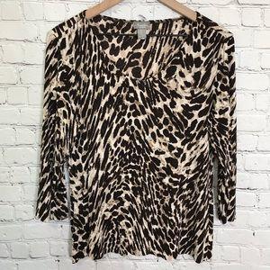 Chico's Travelers Cheetah print  3/4 length sleeve